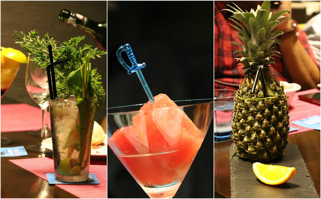 1. Gin and Tonic, 2. vodka infused watermelon, 3. pina colada