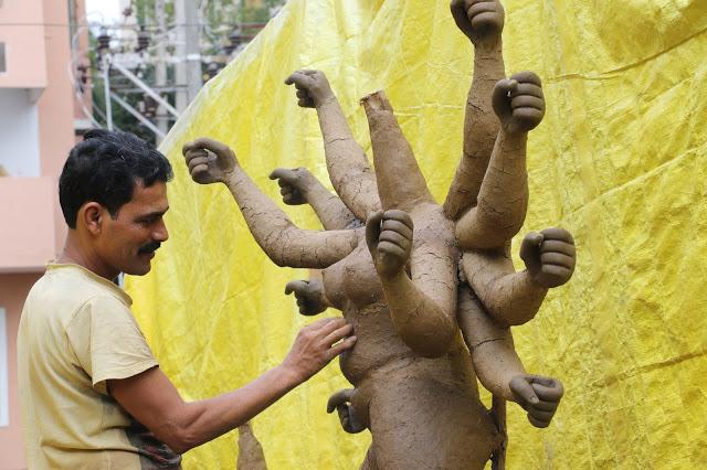 Making Idol of Goddess Durga
