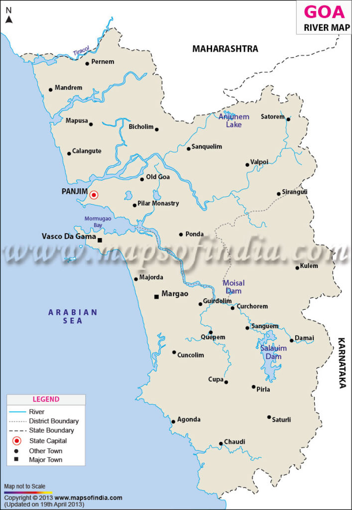 River Map of Goa